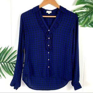MAISON JULES Blue Plaid Ling Sleeve ButtonDown Top